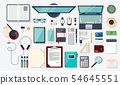 Top view elements. Desk background with laptop, digital devices, office objects, books and documents 54645551