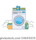 Laundry room with working washing machine. Thin line flat design vector illustration 54645635