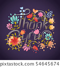 Thank You lettering greeting card. Lettering elements. Hand drawn botanical background with thank 54645674