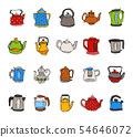 Teapot and kettle vector teakettle to drink tea on teatime and boiled coffee beverage in electric 54646072