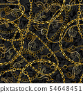 Golden Chains Baroque Jewelry Seamless Vector Pattern. Gold Accessory Backdrop for fashion Art 54648451