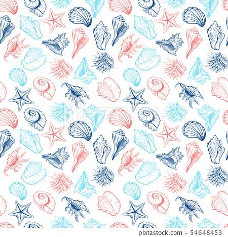 Seashells collection vector seamless pattern 54648453