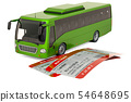 Bus with tickets. Travel concept, 3D rendering 54648695