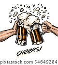 Cheers toast. Beer in hand. Vintage Alcoholic Label with calligraphic element. American banner or 54649284