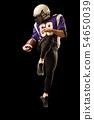 American football player holding a ball while jumping away from a strike. Black background, copy 54650039