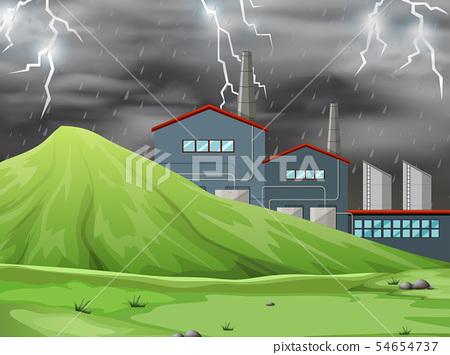 A factory in nature scene 54654737
