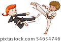 Girl and boy karate scene 54654746