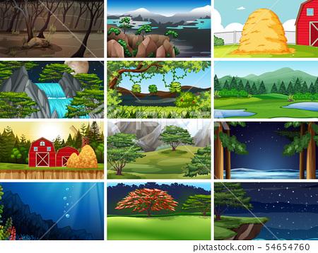 Set of nature landscape 54654760