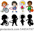 Set of kids in color and silhoueete 54654797