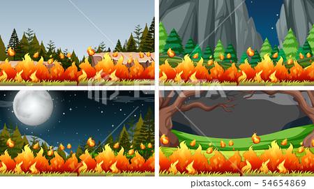 Set of bush fire landscape 54654869
