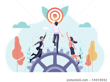 Business people race to reach the target first 54659692