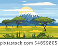 African landscape savannah wild nature. Grass, bushes, acacia trees and mountane. The nature of 54659805