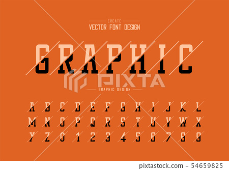 Sliced font and alphabet vector, Typeface and 54659825