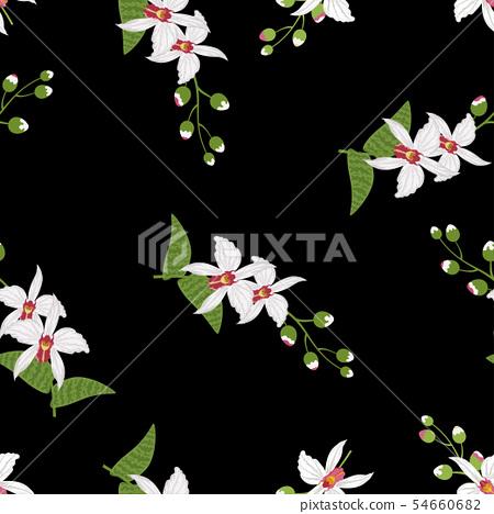 Orchid Tropical Leaves And Flowers Background Stock Illustration 54660682 Pixta Estampas digitais com temática de folhagens desenvolvidas para tecido. pixta