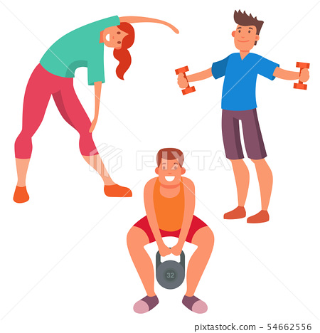 Fitness People Gym Sporty Club Icons Athlet Stock Illustration 54662556 Pixta