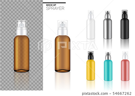 Mock up Realistic Spray Bottle Cosmetic Set 54667262