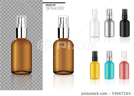 Mock up Realistic Spray Bottle Cosmetic Set 54667264