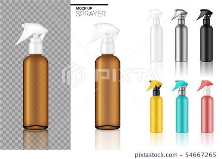 Mock up Realistic Spray Bottle Cosmetic Set 54667265