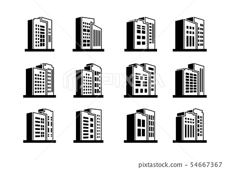 Perspective black company icons and Line vector 54667367