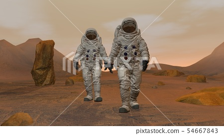 3D rendering. Colony on Mars. Two Astronauts 54667843