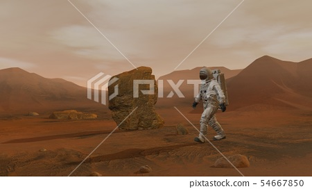 3D rendering. Colony on Mars. Two Astronauts 54667850
