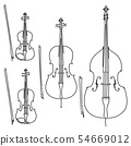 Set of simple bowed stringed musical instruments. 54669012