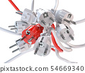 Unique red electric plug in the heap of a white 54669340