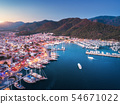 Aerial view of boats and yachts and beautiful city 54671022