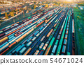 Aerial view of freight trains. Cargo wagons 54671024