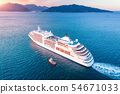 Aerial view of beautiful large white cruise ship 54671033