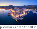 Aerial view of boats and beautiful city at night 54671035