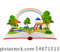 Open book playground. Fantasy garden, learning amusement park green forest library, child books 54671513