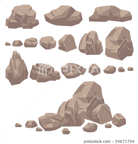Rock stone. Isometric rocks and stones, geological granite massive boulders. Cobbles for mountain 54671704