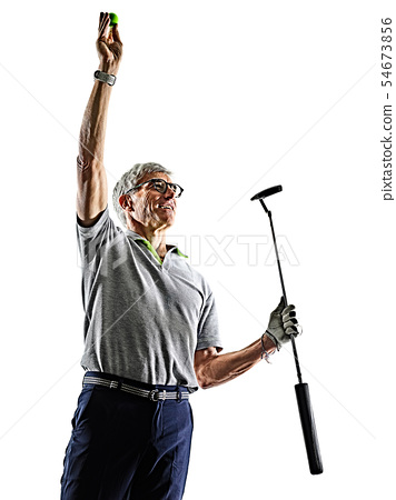 senior man golfer golfing shadow silhouette isolated white back 54673856
