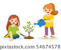Children planted young trees and watering flowers. 54674578