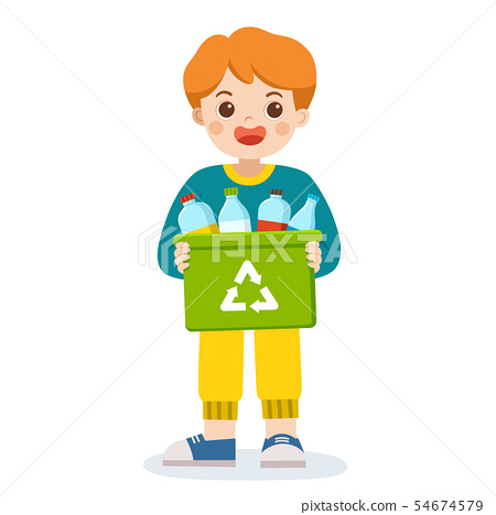 Boy carrying a bin of bottles for recycling. 54674579