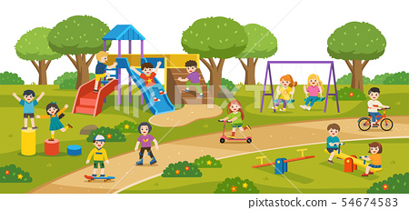Happy kids play outside together. 54674583