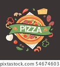 Pizza house with ingredients banner, poster vector illustration. Premium food with sausages, cheese 54674603