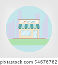 Shop building on city background, flat icon vector 54676762