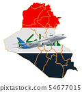 Flights to Iraq, travel concept. 3D rendering 54677015