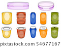 Aluminum tin vector colored aluminium can for soda beverages or alcohol beer and empty metal bottle 54677167