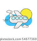 Plane In The Sky On White Background Vector Image 54677369
