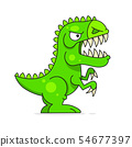Cute Green Dinosaur Isolated On White Background. 54677397