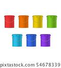 Realistic Detailed 3d Color Plastic Buckets Set. Vector 54678339