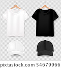 Front Views Of T-shirt And Baseball Cap On 54679966