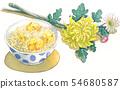일본의 연중 행사 일러스트 : 9 월 / 밤 쌀과 국화 꽃 54680587