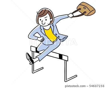 跳過障礙的女商人 54687238
