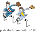 Businessman and businesswoman jumping over hurdle 54687239