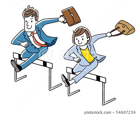 跳過障礙的商人和女實業家 54687239