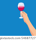 Hand holding a glass of red wine. Template vector illustration isolated cartoon poster style banner 54687727